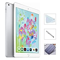 Apple iPad 6th Gen 128GB (2018 Model) w/Saiborie 49 Value Accessories, Wi-Fi Only, 9.7'' Retina Display, A10 Fusion chip, Touch ID, Apple Pay, Night Shift (Silver)