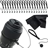 CamKix Lens Cap Keeper Bundle for any SLR or DSLR Camera - including 20 Lens Cap Holders - 2 Microfiber Cleaning Cloths - Great Accessories for Photographers