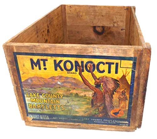 Vintage Mt. Konocti Lake County Mountain Pear Crate Wood Box w/Indian Chief Graphics
