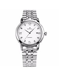++Canaloha:)++ KS Men's Simple Casual Stainless Steel Crystal Automatic Mechanical Dress Wrist Watch
