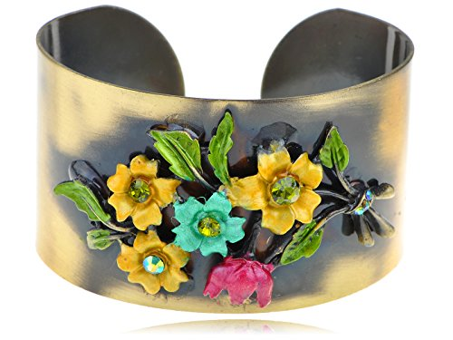(Alilang Antique Ethnic Bronze Colorful Enamel Vintage Yellow Flower Adjustable Open Cuff Bangle Bracelet)