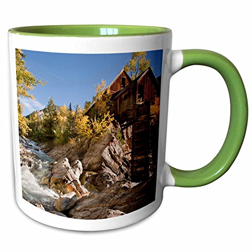 3dRose Danita Delimont - Mills - USA, Colorado, Gunnison Forest, Crystal Mill - US06 BJA0322 - Jaynes Gallery - 15oz Two-Tone Green Mug (mug_143089_12)