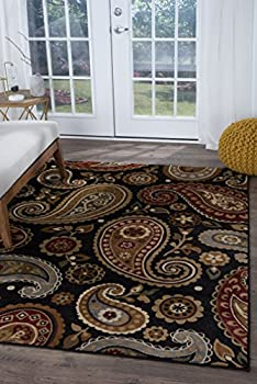 Universal Rugs Hayley Transitional Paisley Black Rectangle Area Rug, 5' x 8'