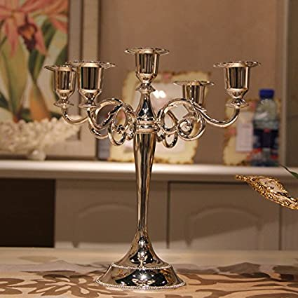 Fkduih Three Head Five Head Metal Alloy Silver Candlestick European Wedding Wedding Hotel Ktv Home Decoration,3 Heads Of Blue