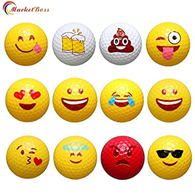 MarketBoss 12 Pcs Golf Balls,Emoji Novelty Professional Practice Golf Balls Toy for Outdoor or Field Playing