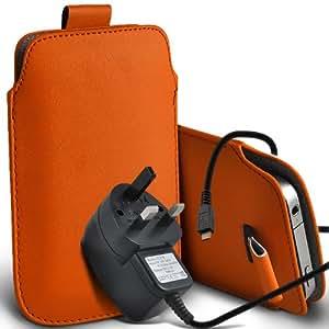 Alcatel One Touch Star 6010d premium protección PU ficha de extracción de deslizamiento del cable En caso de la cubierta y Micro Pouch Pocket Skin USB CE aprobó 3 Pin Cargador de Orange por Spyrox