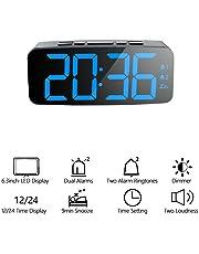 ORSERA Reloj Despertador Digital con Alarma Dual Snooze Pantalla LED Inteligente Grande, 12/24