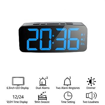 ORSERA Reloj Despertador Digital con Alarma Dual Snooze Pantalla LED Inteligente Grande, 12/24 Horas, Brillo de 6 Niveles Ajustable, Alimentado por ...