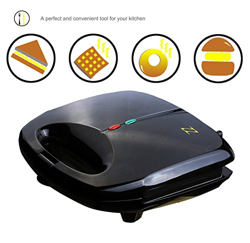 ZZ S6142A 4 in 1 Sandwich Waffle Burger and Donut Maker with...