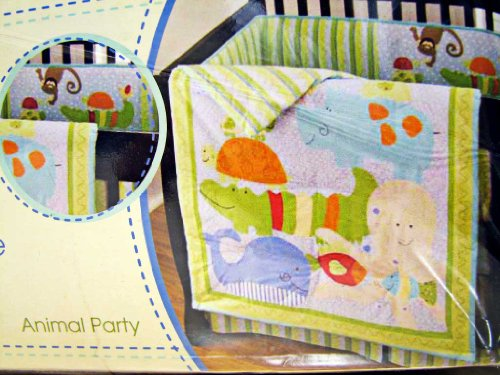 (Sumersault 4 Piece Baby Crib Bedding Sheet Set Animal Party)