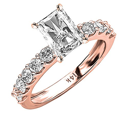 2.9 Cttw 14K Rose Gold Radiant Cut Classic Side Stone Prong Set Diamond Engagement Ring with a 2 Carat I-J Color I1 Clarity (Radiant Cut Center)