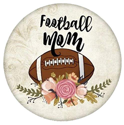 Brown Football Mom Flowers Enamel 20mm Snap Button Charm for Ginger Snaps