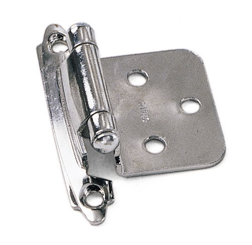 Laurey 28726 No Inset Facemount Self-Closing Hinge, Chrome 2-Pack