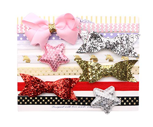 Zapire Lace Headband for Baby Girl Beautiful Kid Hair Accessories - Soft Elastic Flower Bow-knot Hair Band (6pc shiny headbands)