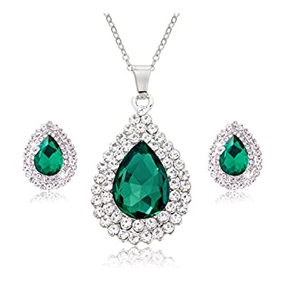 Jane Stone Fashion Rhinestone Jewelry Sets Crystal Teardrop Necklace and Clip-on Earrings for Women