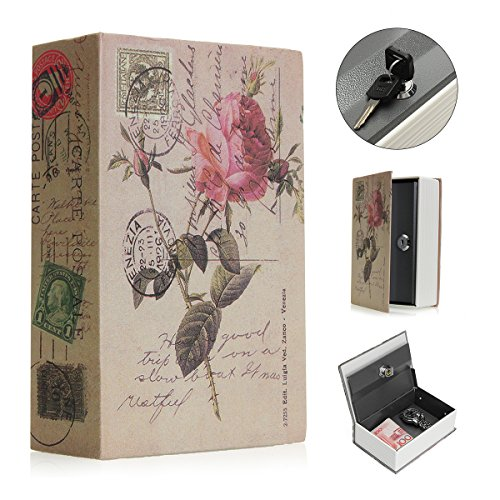 SAFETYON Safe Lock Book Box Hidden Dictionary Diversion Secret Book Safe with Combination Lock Portable Safe Box for Traveling Store Money Jewelry and Passport  - ROSE KEY by SAFETYON