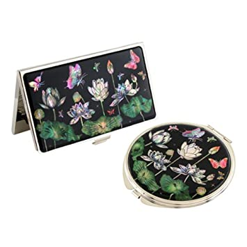 Set Miroir De Poche Porte Carte Visite Nacre Collection Fleur LOTUS BLANC