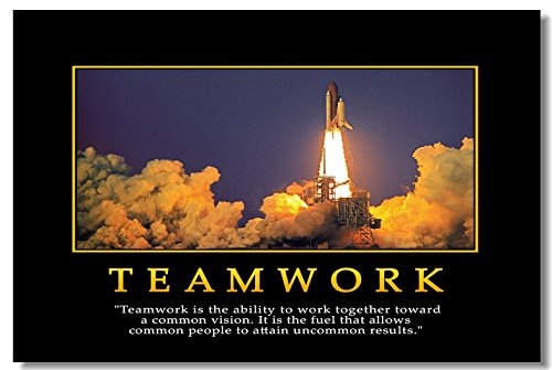 1x Motivational Self Positive Office Quotes Inspirational Success Teamwork Wall Silk Poster Art Prints for Big Room Hall Office 30x20 (75x50cm) (030)