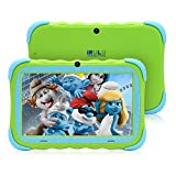 """7"""" Android 7.1 Kids Tablet,IPS HD Screen,1GB/16GB, Babypad Edition PC with Wifi and Camera and Games, Google Play Store,Bluetooth Supported, Kids-Proof Case, GMS Certified,iRULU Y57 (Green)"""