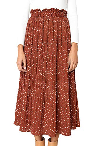 PRETTYGARDEN Women's Fashion High Elastic Waist Polka Dot Printed Pleated Midi Vintage Skirts with Pockets (Brown, X-Large)