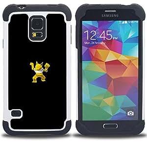 """SAMSUNG Galaxy S5 V / i9600 / SM-G900 - 3 en 1 impreso colorido de Altas Prestaciones PC Funda chaqueta Negro cubierta gel silicona suave (Meter Monster Amarillo Fox"""")"""