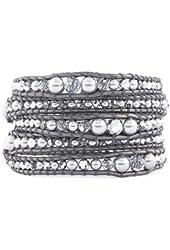 Chan Luu Grey Pearl Mix Graduated Wrap Bracelet on Grey Leather