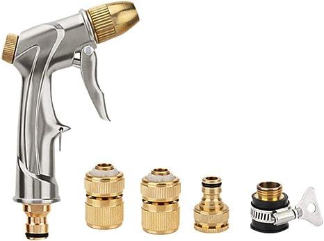 Omadiol Pistola De Riego Metal, Boquilla De Manguera De JardíN Boquilla De PulverizacióN Pistola De Alta PresióN De Metal para Lavado De Autos/Riego De Plantas Limpieza De Mangueras De JardíN: Amazon.es: Deportes