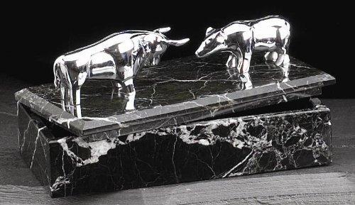 Venta - plateado toro y oso de peluche de mármol caja de madera