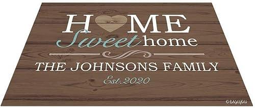 BAGEYOU Home Sweet Home Doormat Custom Family Floor Mat Outdoor 35.4 x 23.6