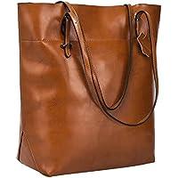 S-ZONE Vintage Genuine Leather Tote Shoulder Bag Handbag Big Large Capacity Upgraded Version