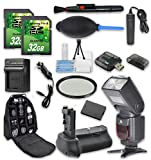 Super Accessory Kit For Canon Rebel T5/T6 with Battery Grip + Extra Battery + Flash + 2 PC 32 GB SD Cards + Backpack