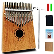 MOTYYA Kalimba 17 Key Thumb piano, Mbira 17 Tone Finger Piano Portable Musical instrument Toys Solid Sapele Body with Tune Hammer/Bag