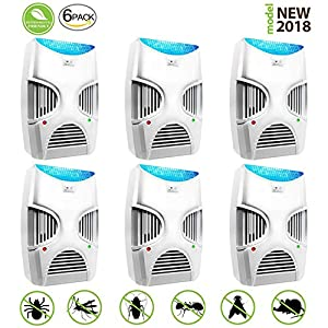 [2018 LATEST UPGRADE] ElectroMagnetic and Ultrasonic Pest Repeller Pest Control Spider repellent,Electronic Mosquito Repellent, Pest Control Plug In Drive out Insect, Roach, Fly, Mice Etc.(6 PACK)