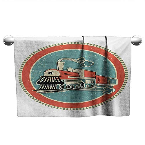 alisoso Steam Engine,Decorative Bathroom Towels Vintage Style Orange and Blue Banner Train Transportation Retro Old Quick-Dry Towels Turquoise Salmon Ivory W 35