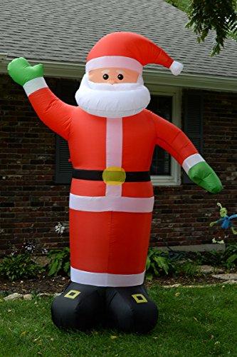 Huge foot self inflating illuminated santa claus holiday