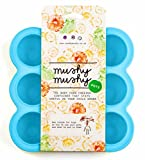 Weaning Pots by Mushy Mushy - Easy To Remove Baby Food Storage Container with Lid to prevent Freezer Burn - BPA Free Silicone Trays - Free Recipe eBook - Give Your Baby The Best Start- (Blue)