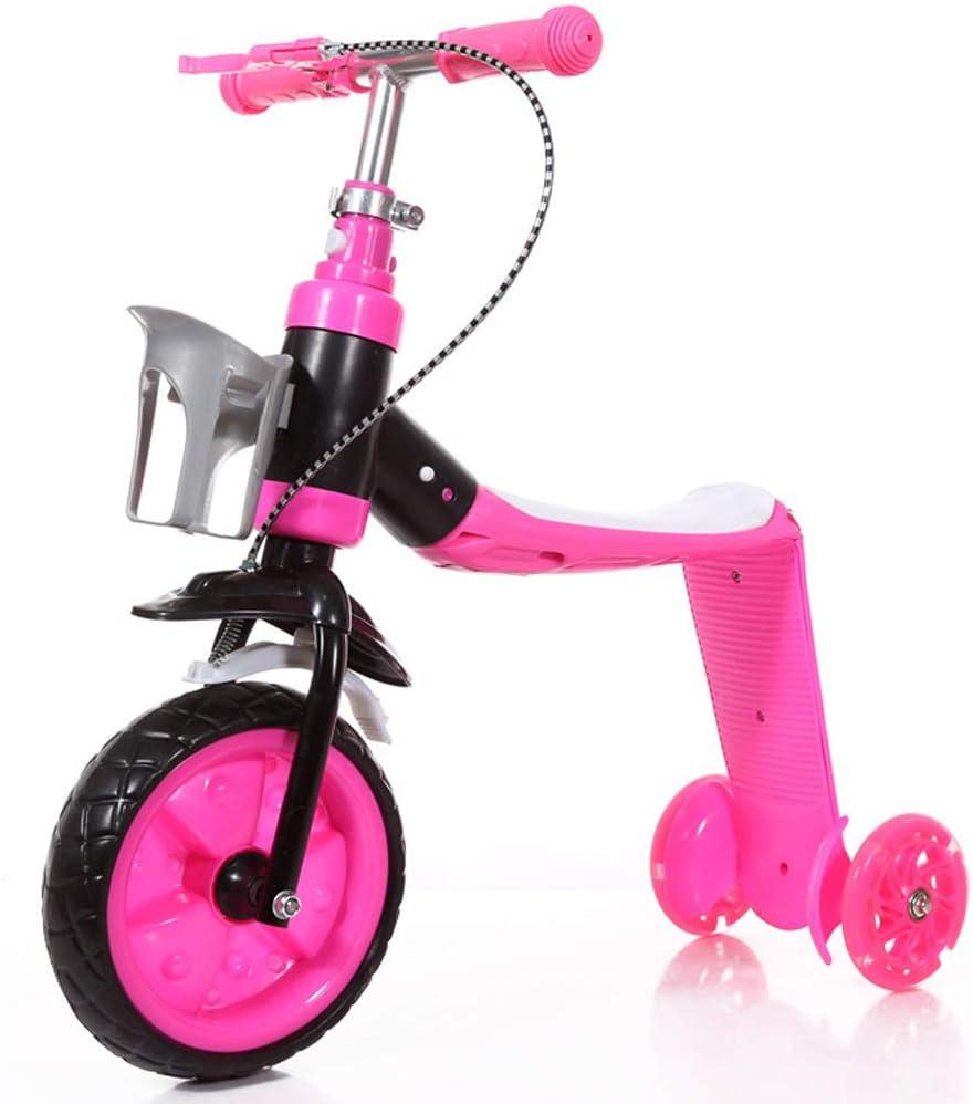 TmDo 2 En 1 Niños Scooter Balance Car Niños Balance Bike Triciclo Multifuncional para Bebés con 3 Ruedas Soporte Asiento Plegable,Rosado