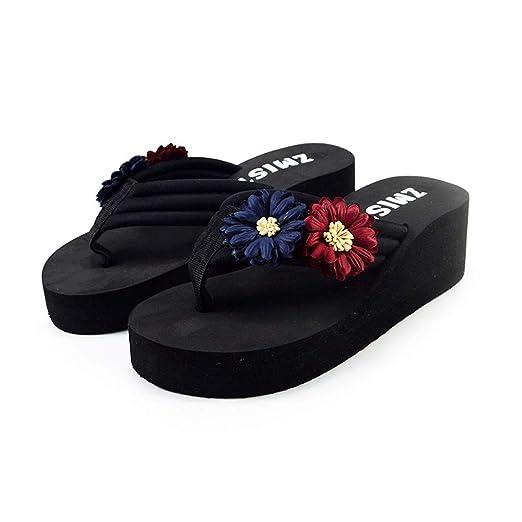 3e97edb8446faa Sunbona Women s Flip Flops Slippers Ladies Summer Open Toe Flower Home Wedges  Beach Shoes
