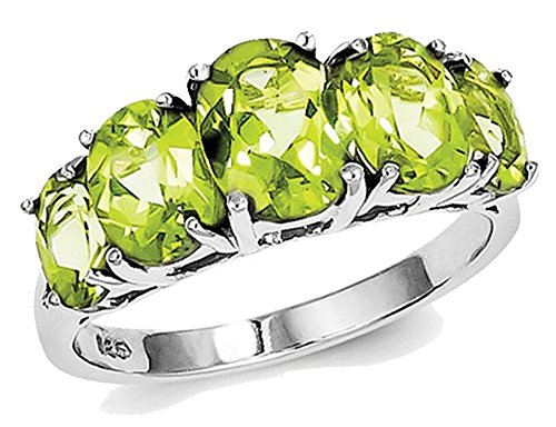- Ladies Five Stone Natural Peridot 4.00 Carat (ctw) Ring in Sterling Silver