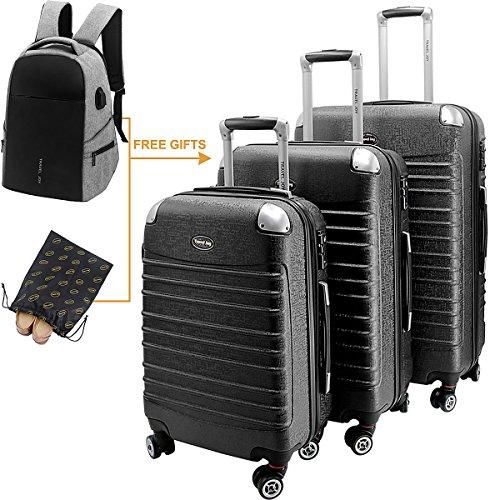 Hardside Luggage Set Hardside Spinner Luggage Hard Shell Suitcase Set TSA Luggage Carry On Luggage 3 Pieces (20'' 24'' 28'')Black by Travel Joy
