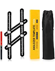 IsEasy Multi Angle Ruler, Angleizer Template Tool Aluminum Alloy Measuring Layout Tool with Marking Pencil & Carrying Pouch for Craftsmen,Carpenters, Builders, Handymen, Tiles, Wood