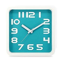 SANNIX Large Indoor/Outdoor Decorative Wall Clock - Universal Non - Ticking & Silent Wall Clock-Teal,Plane Figure