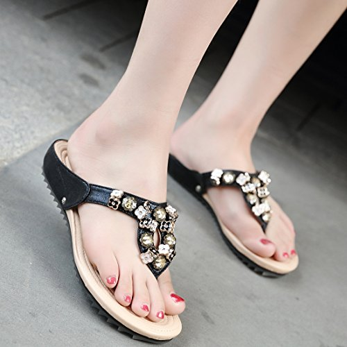 YE Women's Flip Flop Low Wedge Heels Sandals with Flower Chains Black FwlXhWvl