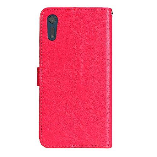 Laybomo Schuzhülle Sony Xperia XZ Hülle Ledertasche Weiches Gummi Silikon TPU Haut Beutel Schützend Stehen Bilderrahmen Brieftasche Schale Tasche Handyhülle für Sony Xperia XZ (Weiß) Rot v481bxxn