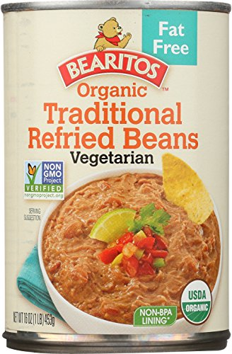 Bearitos Organic Fat-Free Refried Beans, 16 Ounce (Pack of 12)