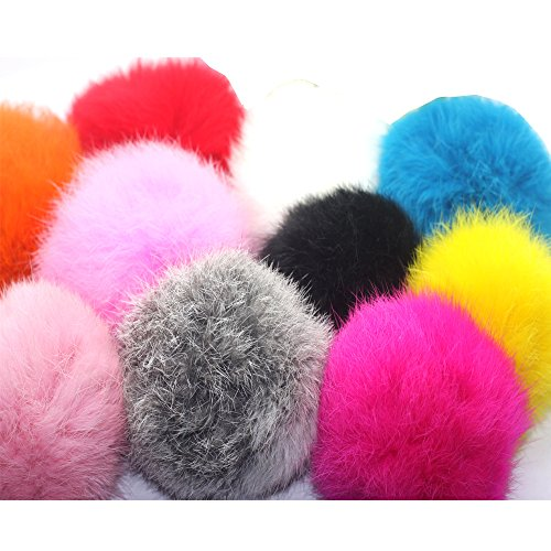 Price comparison product image 10pcs 8cm DIY Real Rabbit Fur ball Furry Ball for Mobile Phone Tag,  Handbag Charm,  Keychain U Pick