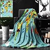 Unique Custom Double Sides Print Flannel Blankets Map For Kids Wanderlust Decor Forest Animals Map Of The World For Children And Kids Ca Super Soft Blanketry for Bed Couch, Twin Size 60 x 70 Inches
