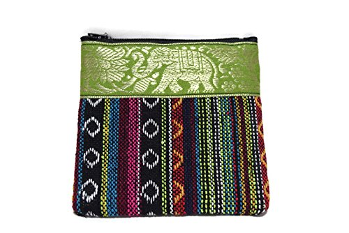 1-pc-handmade-purse-made-of-traditional-thai-frabic-with-green-elephant-strip-style-2-with-naive-des
