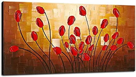 Wieco Art Large Budding Flowers Oil Paintings on Canvas Wall Art Ready to Hang for Bedroom Kitchen Home Decorations Modern Stretched and Framed 100 Hand Painted Contemporary Abstract Floral Artwork
