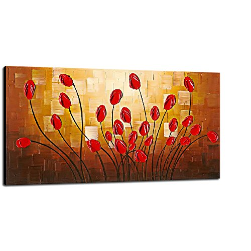Wieco Art Large Budding Flowers Oil Paintings on Canvas Wall Art Ready to Hang for Bedroom Kitchen Home Decorations Modern Stretched and Framed 100% Hand Painted Contemporary Abstract Floral Artwork